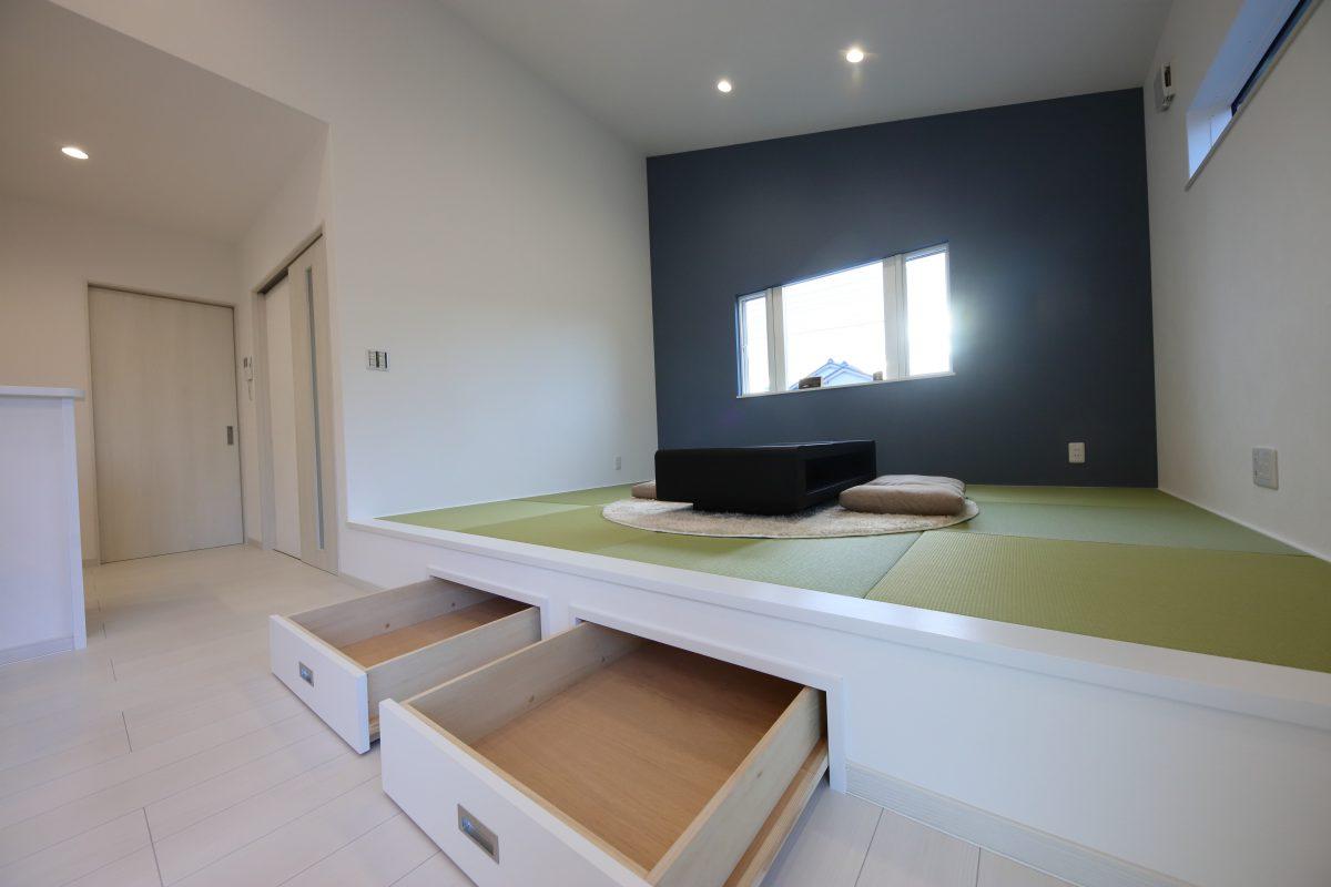 施工事例:大きな勾配天井が魅力的なLDKがある平屋